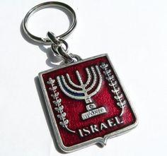 Keychain Menorah Israel Jerusalem - Key Ring Judaica - Red