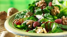 Warm California Walnut Spinach Salad with Raspberry Vinaigrette