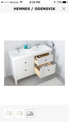 "IKEA Hemnes 47"" 4-drawer double sink"