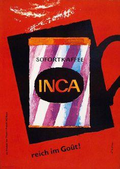 """Afiche a favor del """"Café Inca"""", en la concepción artística del suizo Fritz Bühler (1958)."""