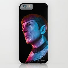 "Buy Homage to Leonard Nimoy - Mr. Spock ""Star Trek"" (colored version) iPhone & iPod Case by Giorgio Finamore. Worldwide shipping available at Society6.com. Just one of millions of high quality products available."