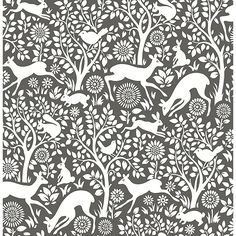2702-22729 - Meadow Charcoal Animals Wallpaper - by A - Street Prints, Brewster Wallcoverings Meadow animals- Charcoal