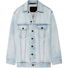 Alexander Wang Daze oversized denim jacket (1 560 PLN) ❤ liked on Polyvore featuring outerwear, jackets, light denim, alexander wang jacket, alexander wang, denim jacket, jean jacket and light blue jean jacket