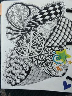Art by Lucinda :: completed doodle, sakura pens, ink, black and white creative art-form