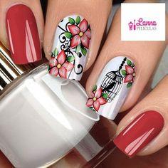 Película de unha- Floral / Gaiola Red Nails, Hair And Nails, Crazy Nails, Acrylic Gel, Beautiful Nail Designs, Accent Nails, Christmas Nail Art, Flower Nails, Nail Arts