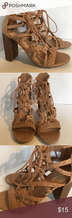 """Stunning Lace Up High Heels Stunning lace up high heels with zip closure in back. Wooden heels simply gorgeous shoes ! 3.5"""" heel never been worn! Merona Shoes Heels"""