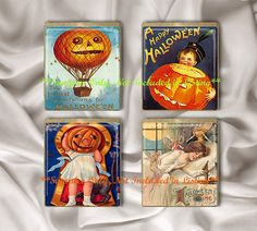 Scrabble Tile Vintage Halloween Postcard Digital Collage Image Sheet Set 1 Sheet Jewelry Printable DIY Jewelry Instant Download - Etsy Fantasygraphicimages