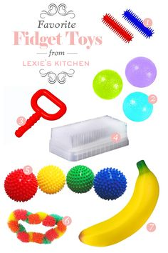 1 Sensory Stixx   // 2 Gaiam Hand Therapy Balls  // 3 Chewy Tubes  // 4 Sensory Brush  // 5 Edu...
