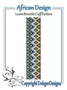 Loom Beading Patterns and Designs   African Design - Loom Bracelet Cuff Pattern   Beading patterns or tut ...