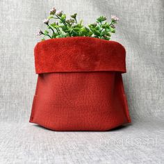 Storage basket in red full grain leather