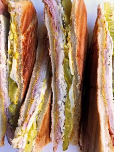 Brown's Cuban Sandwich Recipe: The Cuban is my favorite sandwich of all time. Alas, my desire is often thwarted by a dearth of one crucial ingredient: roast pork. So, the way I figure it, why not reach for a far more common deli meat: herb-roasted turkey. Salami Sandwich, Kubanisches Sandwich, Sandwich Ideas, Chicken Sandwich, Sandwich Spread, Alton Brown, Herb Roasted Turkey, Sauce Pizza, Onigirazu