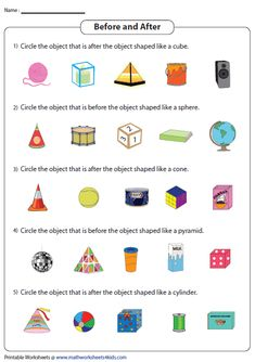 Circling Objects Placed Before and After the 3D Shapes Geometry Proofs, Circle Geometry, Geometry Lessons, Teaching Geometry, Teaching Math, Maths, Volume Worksheets, Symmetry Worksheets, Shape Tracing Worksheets