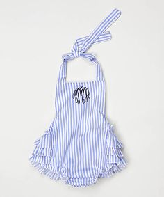 Love this Blue & White Stripe Ruffle Monogram Bubble Romper by Princess Linens on #zulily! #zulilyfinds