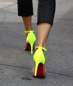 neon yellow shoes + red soles (that's it!  i'm painting the soles of my neon sandals red when i get home! LOVE!)