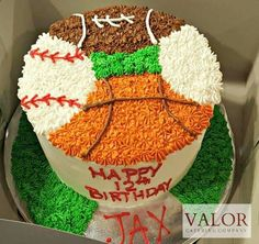 Sports ball birthday cake basketball baseball football golf #valormade