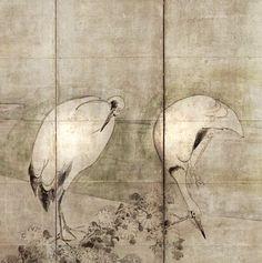 Tawaraya Sotatsu. Cranes and Chrysanthemums. One of a pair of Japanese folding screens. Edo period.