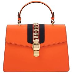 Gucci Women Medium Sylvie Leather Top Handle Bag (18565740 PYG) ❤ liked on Polyvore featuring bags, handbags, purses, orange, chain purse, shoulder strap handbags, gucci purse, chain handle purses and top handle leather handbags