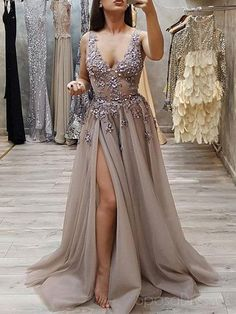 Sexy V Neck See Through Grey Side Slit Lace Long Evening Prom Dresses, Cheap Swe. - Sexy V Neck See Through Grey Side Slit Lace Long Evening Prom Dresses, Cheap Sweet 16 Dresses, 18440 Source by - Cheap Sweet 16 Dresses, Cheap Prom Dresses, Wedding Dresses, Plus Size Prom Dresses, Party Dresses, Tulle Prom Dress, Tulle Lace, Grey Evening Dresses, Formal Dresses