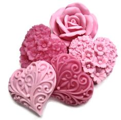 Valentine Gift Soaps in Shades of Pink - Decorative Gift Soaps - Pink Hearts & Flowers Soaps.
