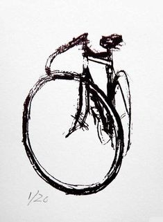 It& a silkscreen print on nice paper, based on a charcoal drawing of a Drysdale Velox Ace Track Bike Edition prints The post It is a silkscreen on nice paper, based on a charcoal drawing. appeared first on Trendy. Tatoo Bike, Cycling Tattoo, Bike Tattoos, Cycling Art, Cycling Quotes, Cycling Jerseys, Bicycle Drawing, Bicycle Painting, Bicycle Art