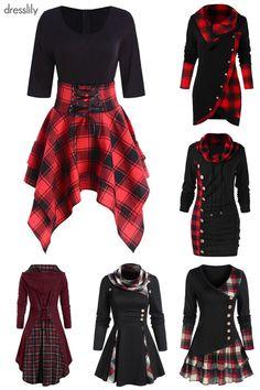 Plaid dresses, shirts, sweaters & pants for teens Plaid Clothing and Plaid Outfits Plaid Outfits, Cute Casual Outfits, Plaid Dress, Outfits For Teens, Casual Dresses, Spring Fashion Outfits, Plaid Fashion, Womens Fashion, Damen Sweatshirts