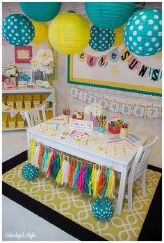 Classroom decor themes, classroom fun, hanging classroom decorations, c Kindergarten Classroom Decor, Classroom Setup, Future Classroom, Classroom Organization, In Kindergarten, Classroom Door, Classroom Table Signs, Classroom Color Scheme, Elementary Classroom Themes