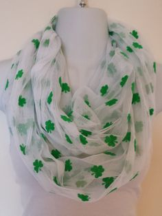 White lightweight mesh with green #shamrocks and loose glitter make this a great spring fashion choice for St. Patrick's Day this year! $16 on Etsy #infinityscarf #irish