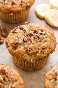 There's nothing like biting into a fresh-baked maple pecan banana muffin! Ea… There's nothing like biting into a fresh-baked maple pecan banana muffin! Easy, simple, homemade goodness in less than 30 minutes. Muffins Blueberry, Vegan Banana Muffins, Zucchini Muffins, Mini Muffins, Vegan Breakfast Muffins, Almond Muffins, Peanut Butter Muffins, Sweet Potato Muffins, Carrot Muffins