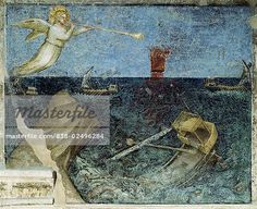 The Second Angel with the Trumpet and the Agitation of the Sea from Apocalypse: Descent of the Holy Ghost  Giusto di Giovanni Menabuoi (op. 1363-1393/ Italian)  Fresco  Baptistry of the Cathedral, Padua