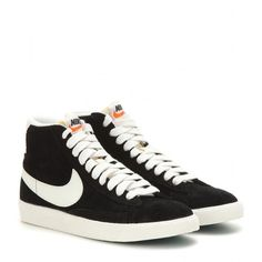 Nike Nike Blazer Mid Vintage Suede High-Top Sneakers ($115) ❤ liked on Polyvore featuring shoes, sneakers, zapatillas, black, suede shoes, vintage shoes, nike trainers, black high tops and vintage sneakers