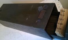 Industrial Metal Library File Drawer by shabbychatue on Etsy, $15.00