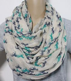 Mint Horse Infinity Scarf Cute Horse Pattern by LemniscateAddict, $28.99