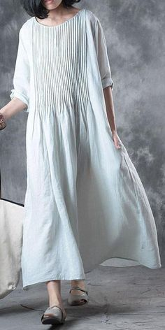 Fine Long Linen Dress Loose Fit Solid Loose Folded Pocket Women Elbow Sleeves Blue Dress , Fine-long-linen-dress-Loose-fitting-Solid-Loose-Folded-Pocket-Women-Elbow-Sleeve… , 2019 summer dress Source by Linen Dresses Uk, Sewing Dresses For Women, Sewing Clothes Women, Cotton Dresses, Clothes For Women, Dress Sewing, Casual Dresses For Women, Medieval Gown, Women's Fashion Dresses