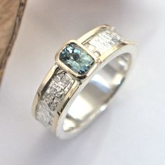 Green Beryl silver and gold ring