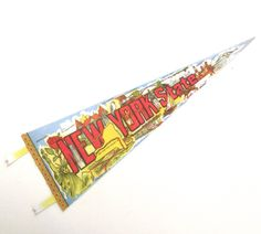 New York State Souvenir Pennant, Vintage Printed Felt Flag by planetalissa on Etsy