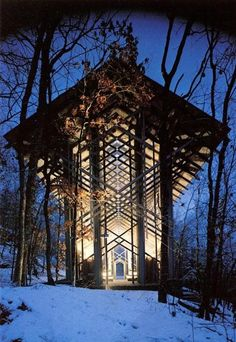 Thorncrown Chapel, Arkansas. Tucked away in the woods of the Ozark Mountains, Thorncrown Chapel is one of the greatest architectural achievements of the 20th century. This majestic and beautiful church built with glass walls and 48' ceilings is the pride of Eureka Springs.