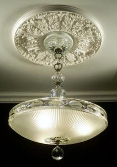30s Art Deco Amazing Frosted Crystal Ceiling Light Fixture Chandelier   eBay