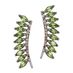 "Sidney Chung """"Plumage"""" Green Sapphire Ear Pins (€1.485) ❤ liked on Polyvore featuring jewelry, earrings, native american earrings, feather jewelry, native american jewelry, 18 karat gold earrings and feather earrings"