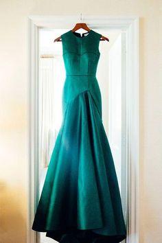 Green satins round neck simple long evening dresses,formal dress - prom dresses 2018