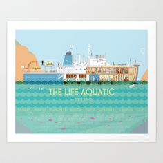 Would be nice in the dining room The Life Aquatic Art Print by Alan Segama - $15.00