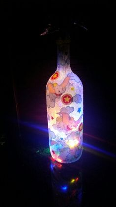 Dumbo Light Up Wine Bottle    If anyone wants one of these done send me an e-mail at Ashleydunai@gmail.com