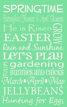 Good words...  Spring and Easter