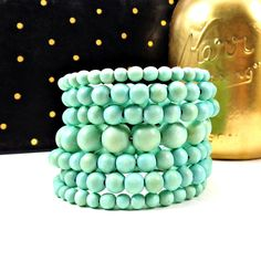 Statement Bracelet, Wood Bracelet, Memory Wire Bracelet, Mint, Blue, Chunky Bracelet, Big Bracelet, Statement, Boho, Round Bead Bracelet by Pilboxx on Etsy