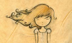 Cute little drawing of a sweet girl. Her hear is blowing in the wind ~