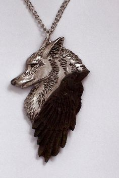 New Design Hand Carved in Fine Pewter Black Raven. Wolf Jewelry, Animal Jewelry, Jewelry Accessories, Unique Jewelry, Luxury Jewelry, Indian Jewelry, Wolf Necklace, Ring Necklace, Pendant Necklace