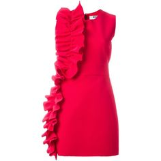 MSGM Ruffle Detail Dress (€305) ❤ liked on Polyvore featuring dresses, red, red dress, red ruffle dress, frill dress, flutter-sleeve dress and pink red dress