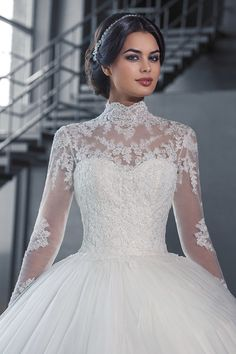 9977b0fa40a Luxury High Neck IIIusion Long Sleeve Lace Ball Gown Wedding Dres See  Through Back