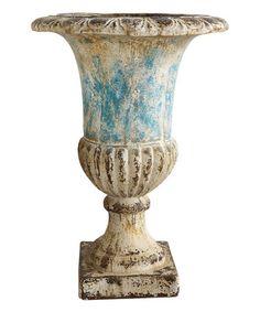 Another great find on #zulily! Aqua Blue Distressed-Finish Urn #zulilyfinds