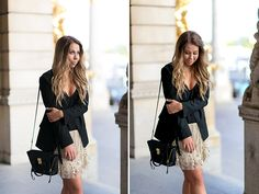 Black and beige sequined skirt