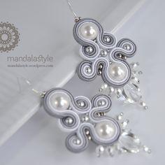 Orecchini argento puro_04 Soutache Bracelet, Soutache Pendant, Bead Jewellery, Soutache Necklace, Bride Earrings, Lace Earrings, Earrings Handmade, Handmade Jewelry, Diy Braids